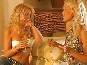 Drunken blonde girls enjoying lesbian sex