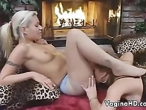 Lesbian Love By The Fireplace